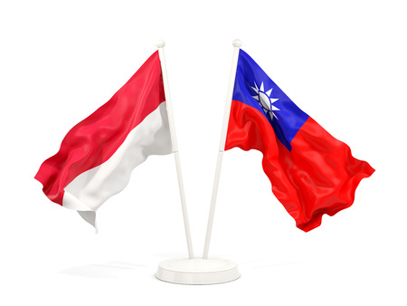 Two waving flags of Indonesia and Taiwan isolated on white. 3D illustration