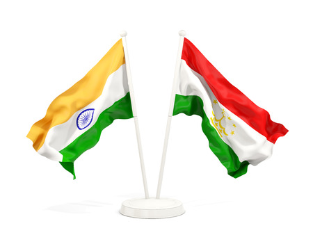 Two waving flags of India and tajikistan isolated on white. 3D illustration Stock Photo