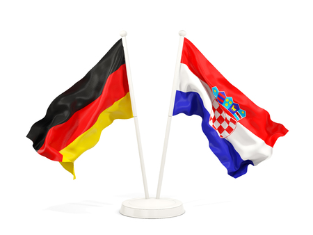 Two waving flags of Germany and croatia isolated on white. 3D illustration