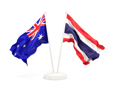 Two waving flags of Australia and thailand isolated on white. 3D illustration Stock Photo