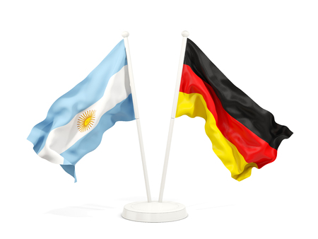 Two waving flags of Argentina and germany isolated on white. 3D illustration