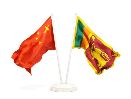 Two waving flags of China and sri lanka isolated on white. 3D illustration