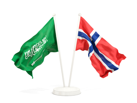 Two waving flags of Saudi Arabia and norway isolated on white. 3D illustration
