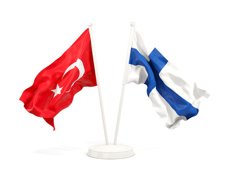 Two waving flags of Turkey and finland isolated on white. 3D illustration