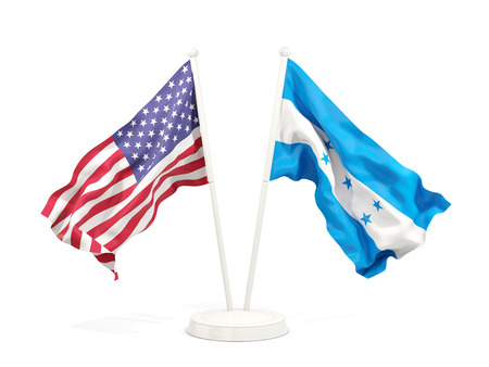 Two waving flags of United States and honduras isolated on white. 3D illustration