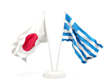 Two waving flags of Japan and greece isolated on white. 3D illustration