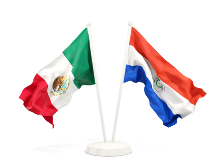 Two waving flags of Mexico and paraguay isolated on white. 3D illustration