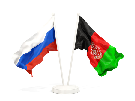Two waving flags of Russia and afghanistan isolated on white. 3D illustration