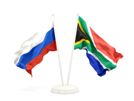 Two waving flags of Russia and south africa isolated on white. 3D illustration Stock Photo