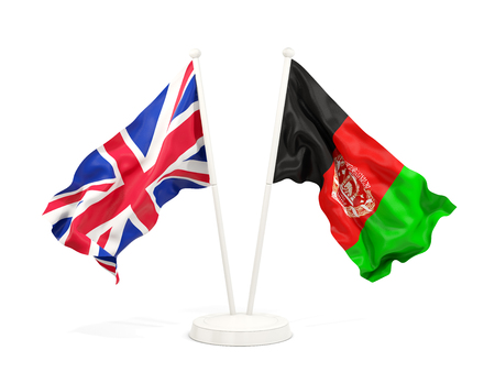 Two waving flags of United Kingdom and afghanistan isolated on white. 3D illustration Stock Photo