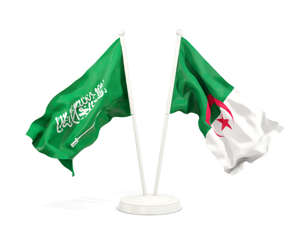 Two waving flags of Saudi Arabia and algeria isolated on white. 3D illustration Stock Photo