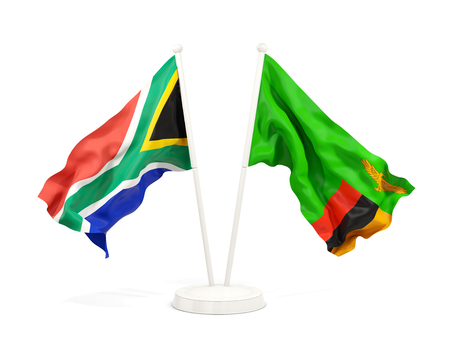 Two waving flags of South Africa and zambia isolated on white. 3D illustration