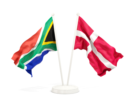 Two waving flags of South Africa and denmark isolated on white. 3D illustration