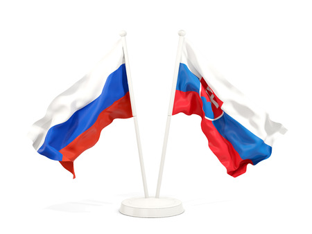 Two waving flags of Russia and slovakia isolated on white. 3D illustration