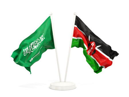 Two waving flags of Saudi Arabia and kenya isolated on white. 3D illustration Stock Photo