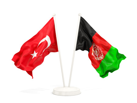 Two waving flags of Turkey and afghanistan isolated on white. 3D illustration