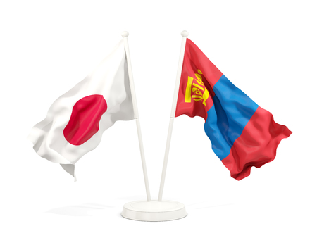 Two waving flags of Japan and mongolia isolated on white. 3D illustration