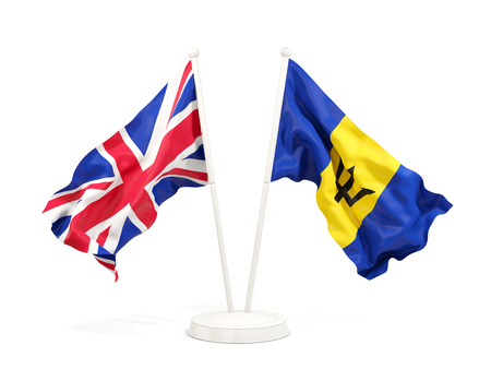 Two waving flags of United Kingdom and barbados isolated on white. 3D illustration
