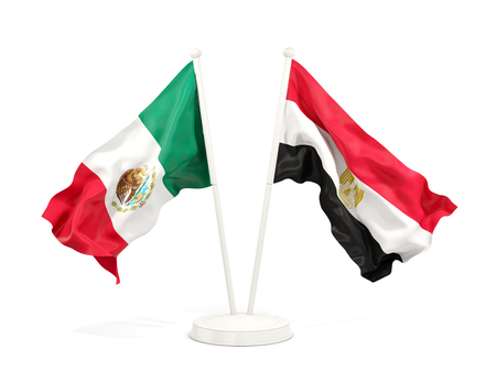 Two waving flags of Mexico and egypt isolated on white. 3D illustration