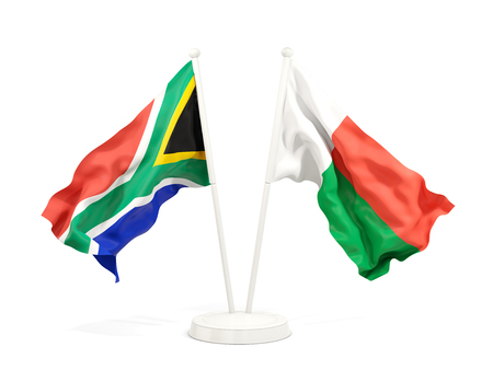 Two waving flags of South Africa and madagascar isolated on white. 3D illustration