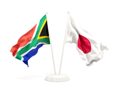 Two waving flags of South Africa and japan isolated on white. 3D illustration