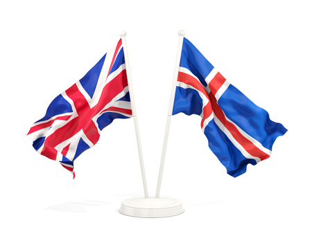 Two waving flags of United Kingdom and iceland isolated on white. 3D illustration
