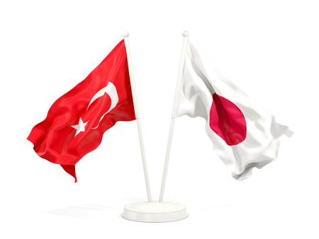 Two waving flags of Turkey and japan isolated on white. 3D illustration