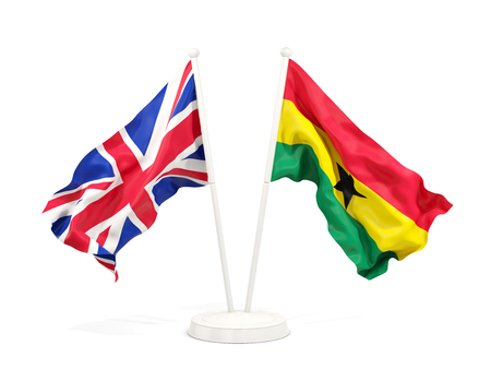 Two waving flags of United Kingdom and ghana isolated on white. 3D illustration