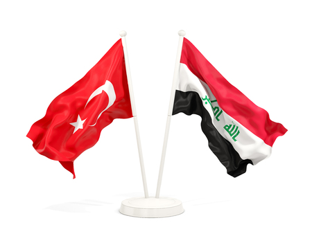 Two waving flags of Turkey and iraq isolated on white. 3D illustration