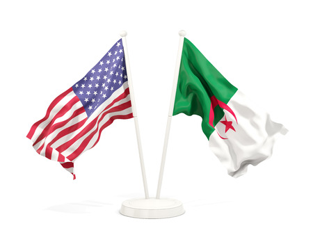 Two waving flags of United States and algeria isolated on white. 3D illustration