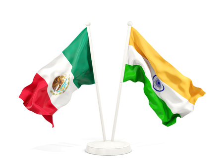 Two waving flags of Mexico and india isolated on white. 3D illustration 免版税图像