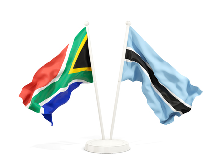 Two waving flags of South Africa and botswana isolated on white. 3D illustration