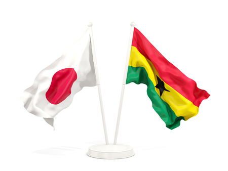 Two waving flags of Japan and ghana isolated on white. 3D illustration