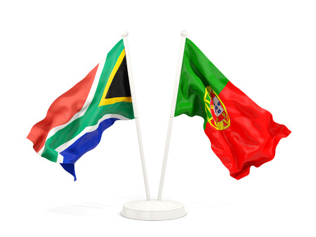 Two waving flags of South Africa and portugal isolated on white. 3D illustration