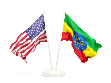 Two waving flags of United States and ethiopia isolated on white. 3D illustration Stock Photo