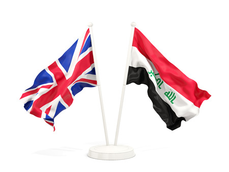 Two waving flags of United Kingdom and iraq isolated on white. 3D illustration