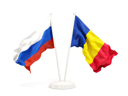 Two waving flags of Russia and romania isolated on white. 3D illustration