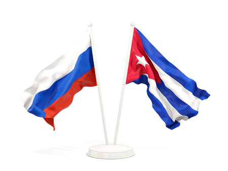 Two waving flags of Russia and cuba isolated on white. 3D illustration