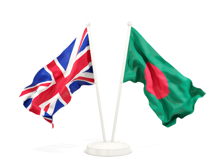 Two waving flags of United Kingdom and bangladesh isolated on white. 3D illustration
