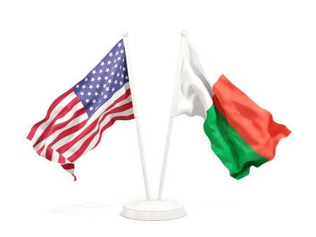 Two waving flags of United States and madagascar isolated on white. 3D illustration