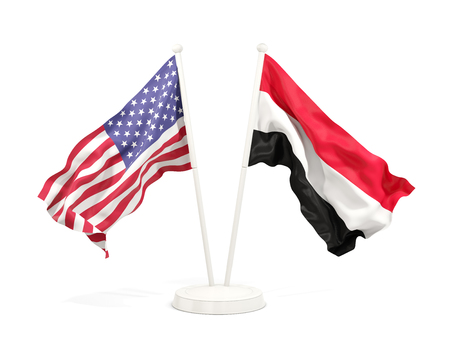 Two waving flags of United States and yemen isolated on white. 3D illustration Stock Photo