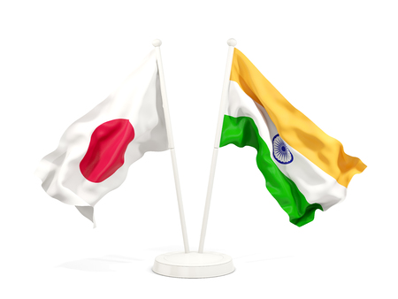 Two waving flags of Japan and india isolated on white. 3D illustration