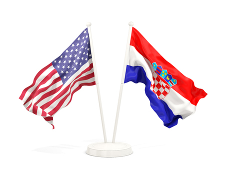 Two waving flags of United States and croatia isolated on white. 3D illustration