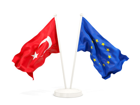 Two waving flags of Turkey and EU isolated on white. 3D illustration