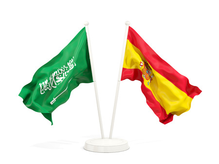 Two waving flags of Saudi Arabia and spain isolated on white. 3D illustration Stock Photo