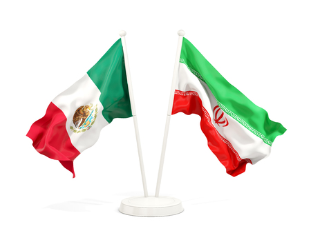 Two waving flags of Mexico and iran isolated on white. 3D illustration