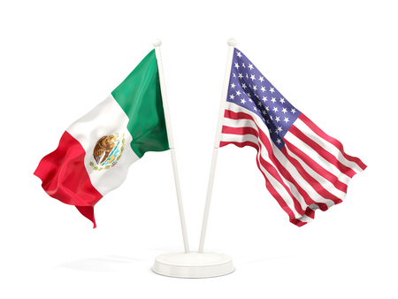 Two waving flags of Mexico and United States isolated on white. 3D illustration