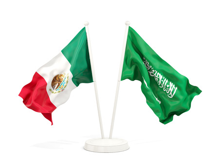 Two waving flags of Mexico and saudi arabia isolated on white. 3D illustration