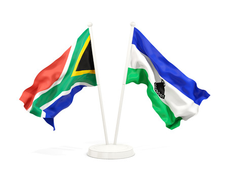 Two waving flags of South Africa and lesotho isolated on white. 3D illustration