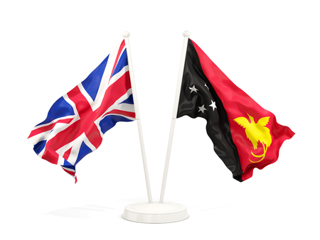 Two waving flags of United Kingdom and papua new guinea isolated on white. 3D illustration